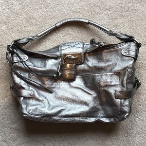 Chloe sliver metallic paddington bag